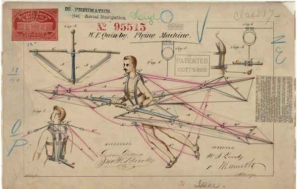 colorful historical diagram of a personal flying machine patent with a moustached man and lines indicating the wings and harness mechanisms. text reads w.f. quinby flying machine