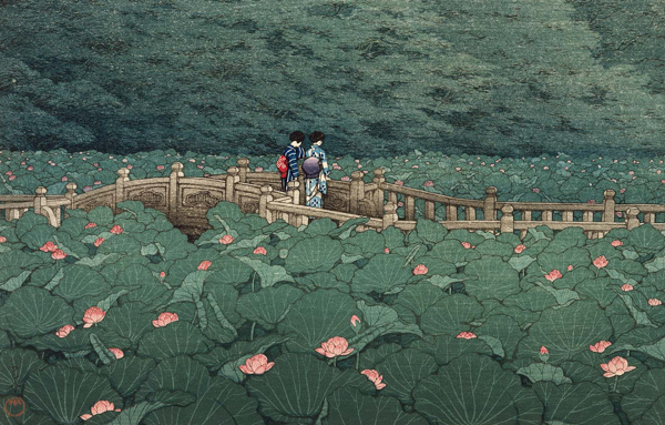 art print of two women in Japanese traditional dress standing facing away on a bridge above a pond filled with green and pink lilies